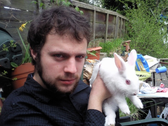 rhodri brady with white rabbit